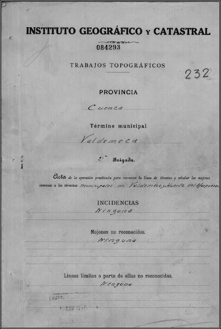 Ejemplo de acta conservada en el Instituto Geográfico Nacional