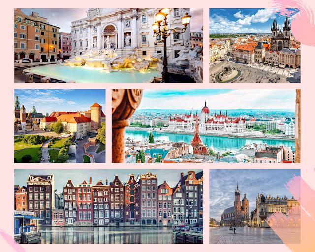 collage - Trevi Fountain Rome, Main Square Krakow, Budapest, Colesseum Rome, Prague