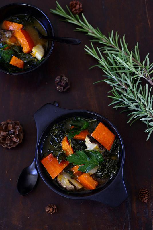 Potage d'automne (potimarron, chou et cèpes)