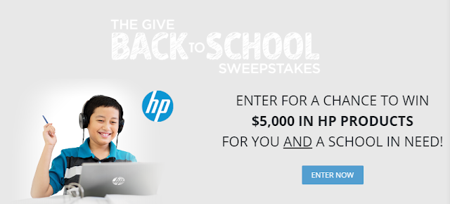 Enter daily for a chance to win $5000 in HP electronics products for yourself AND they'll also award the same prize to a school you choose!