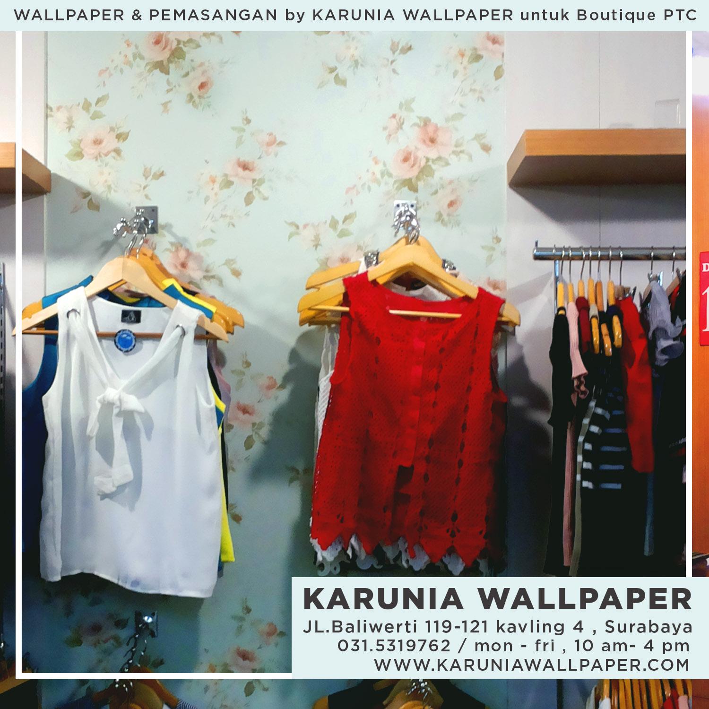 wallpaper dinding untuk butik salonkecantikan pasang dan lem