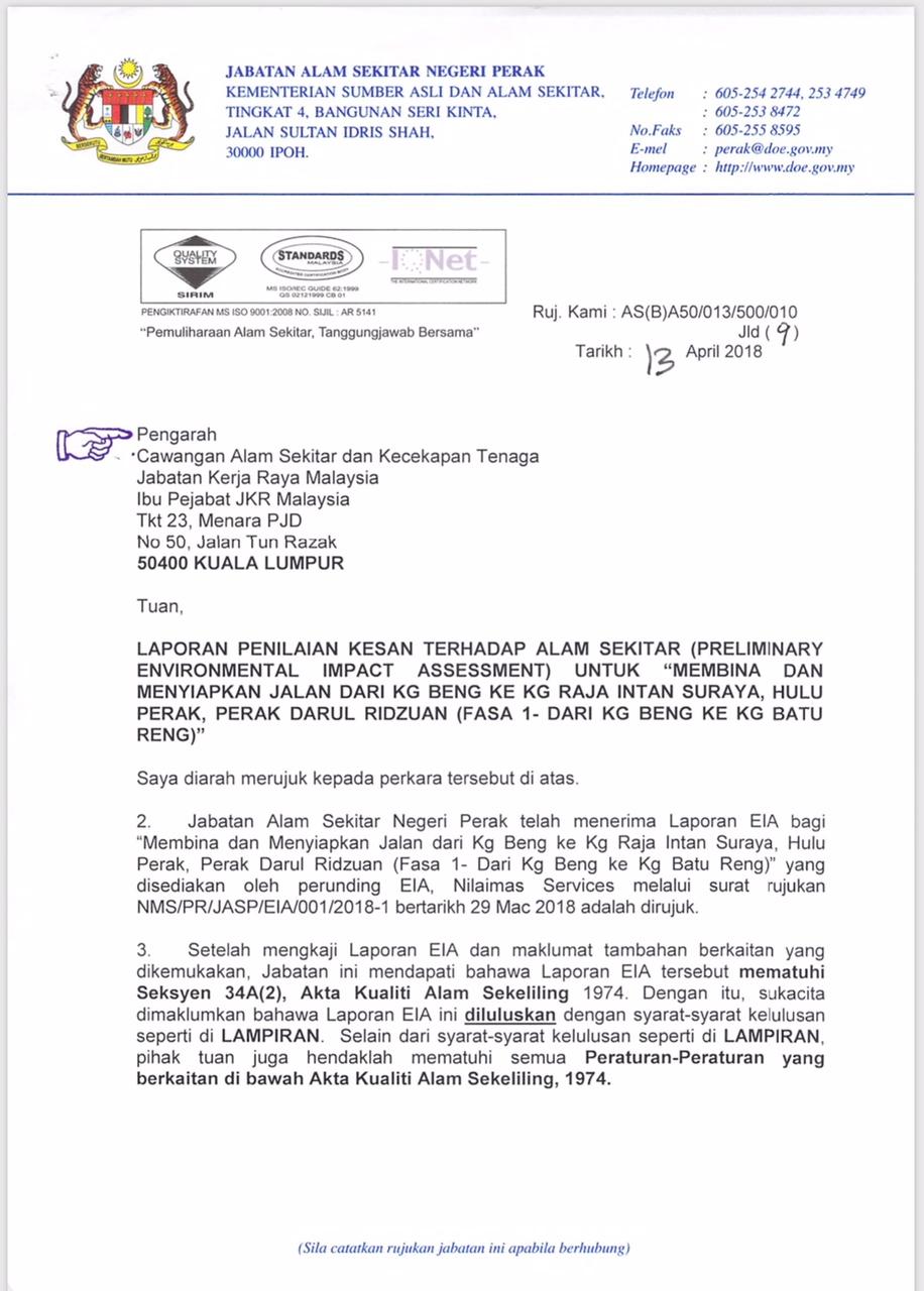 Nilaimas Services Tia Tmp Eia Escp Sia Consultant Registered With Mof Doe Of Malaysia Surat Kelulusan Eia Laporan Penilaian Kesan Terhadap Alam Sekitar Preliminary Environmental Impact Assessment Untuk Membina Dan