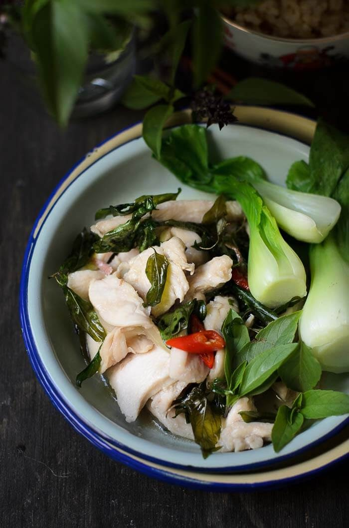 Chicken Thai Basil Stir-fry with crispy deep fried Thai basil leaves.