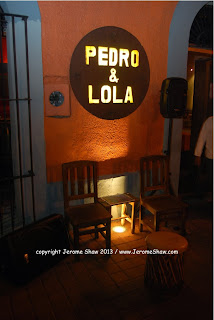 Pedro y Lola sign at night, Mazatlan copyright  Jerome Shaw 2013 / www.JeromeShaw.com
