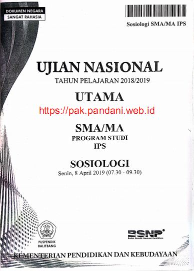Soal Un Sosiologi Sma Ips Tahun 2019 Blog Pak Pandani
