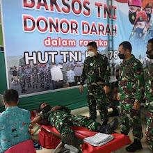 Korem 043/Gatam Gelar Baksos Donor Darah Dalam Rangka HUT Ke - 76 TNI Tahun 2021.