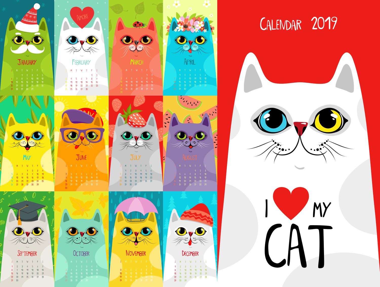 ilustrasi kucing kalendar