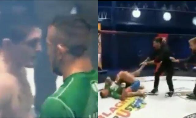 Video detik-detik atlet MMA hina Islam, kelar duel langsung dibanting sampai geletak