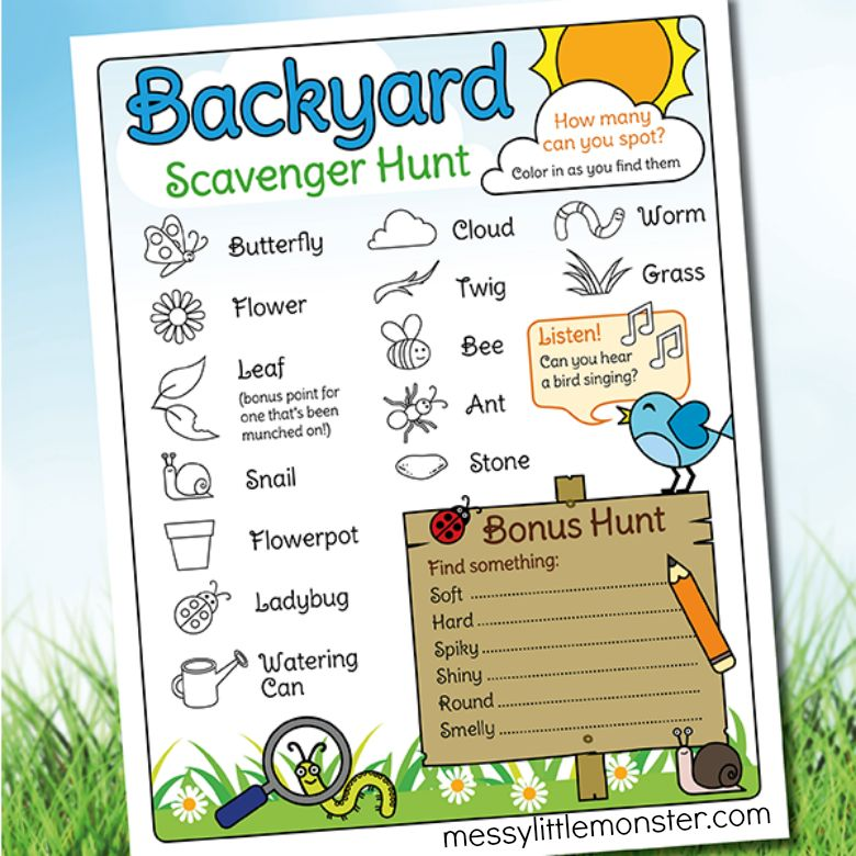 Backyard scavenger hunt spring activity for kids