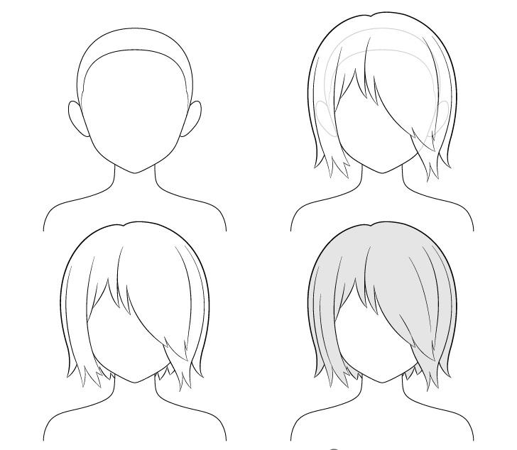 cara Menggambar Anime Hair Over One Eye