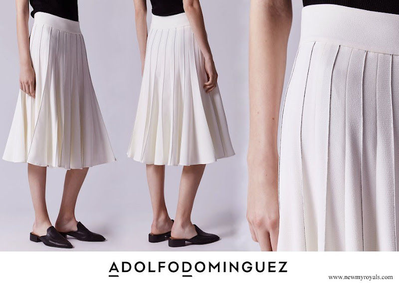 Queen Letizia wore Adolfo Dominguez Skirt