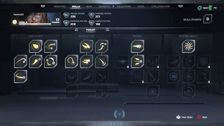 Skills power grid showing various weapons