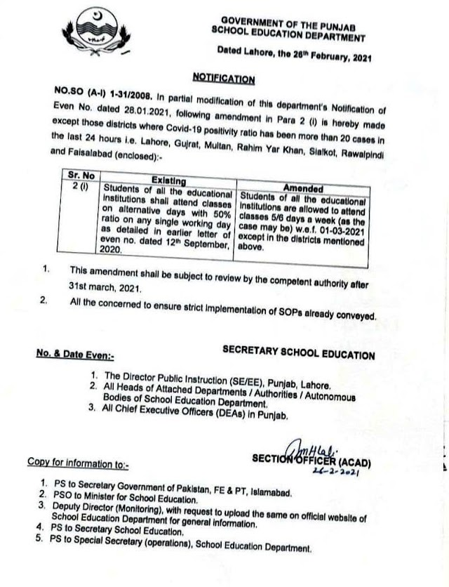 NOTIFICATION REGARDING PERMISSION OF 100% ATTENDANCE OF STUDENTS IN SCHOOLS