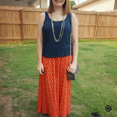 awayfromblue Instagram | breastfeeding outfit for church navy tank and red printed maxi skirt