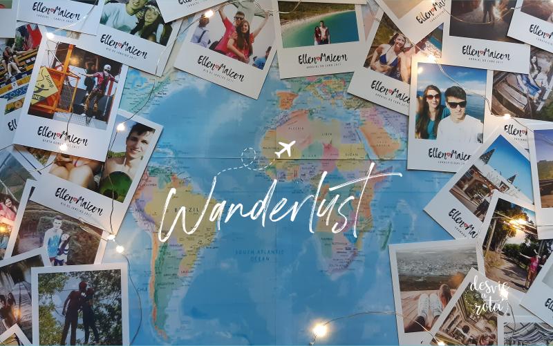 Imagem do mapa mundi com fotos polaroids do casal