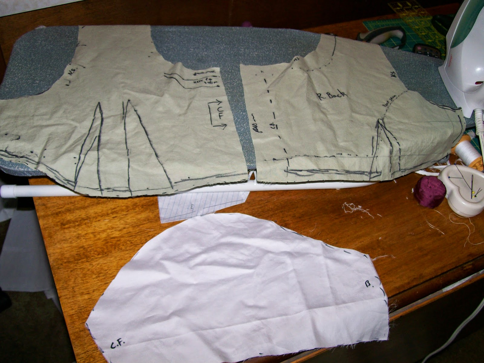 Custom-fitted bodice pattern for Regency dress.