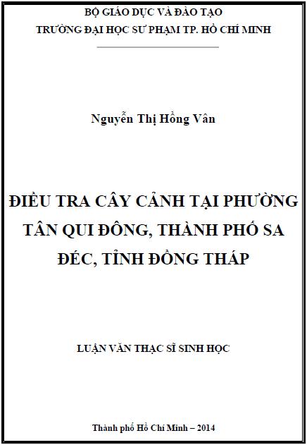 Điều tra cây cảnh tại phường Tân Qui Đông thành phố Sa Đéc tỉnh Đồng Tháp