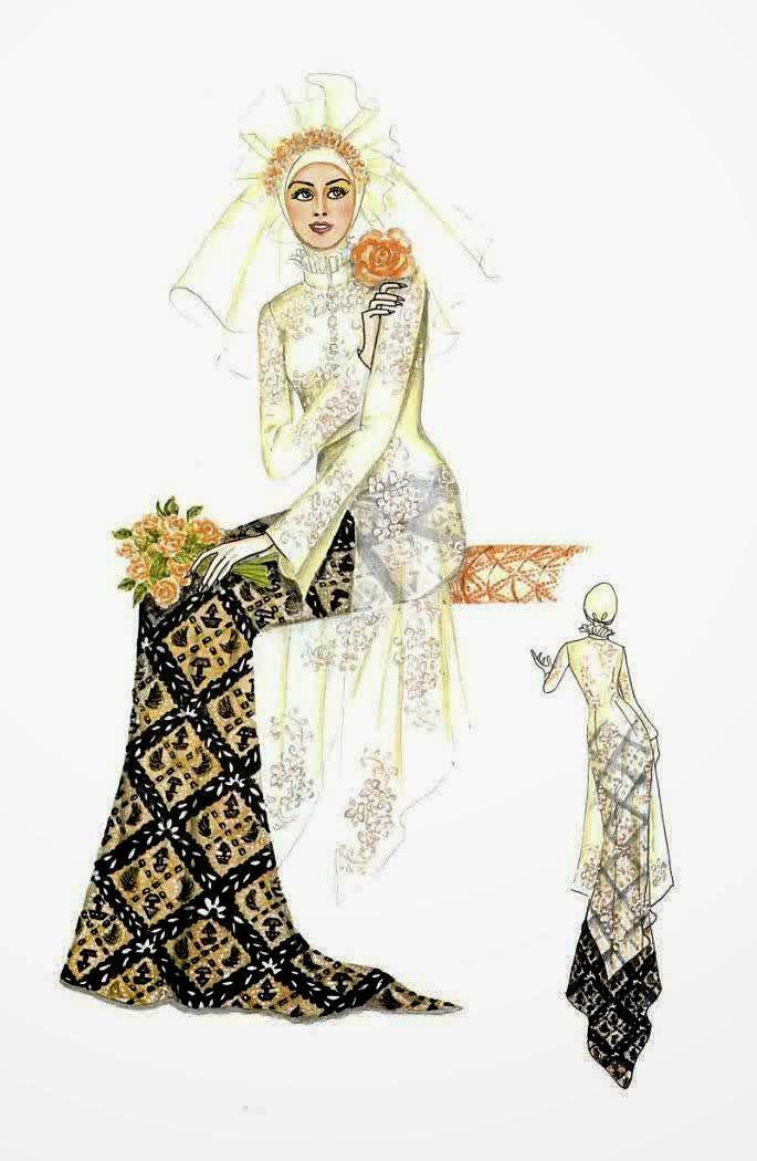 contoh model baju muslim pengantin nuansa kebaya