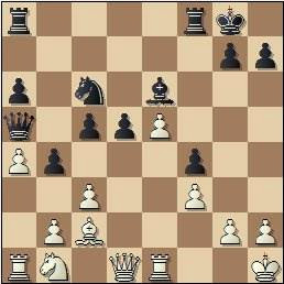 Partida de ajedrez Tan vs. Simón en 1965, posición después de 21...Da5