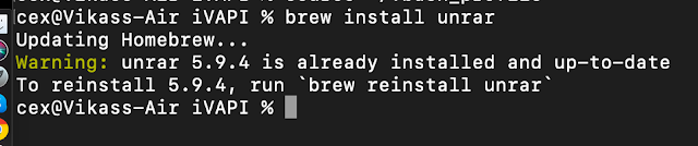 unrar file using macOS terminal