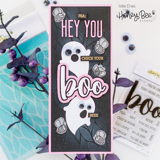 Check Your Boo Bees, Slimline Card,Honey Bee Stamps,punny, Boobs,breast cancer awareness,Halloween Card,Card Making, Stamping, Die Cutting, handmade card, ilovedoingallthingscrafty, Stamps, how to,Boo, Ghosts