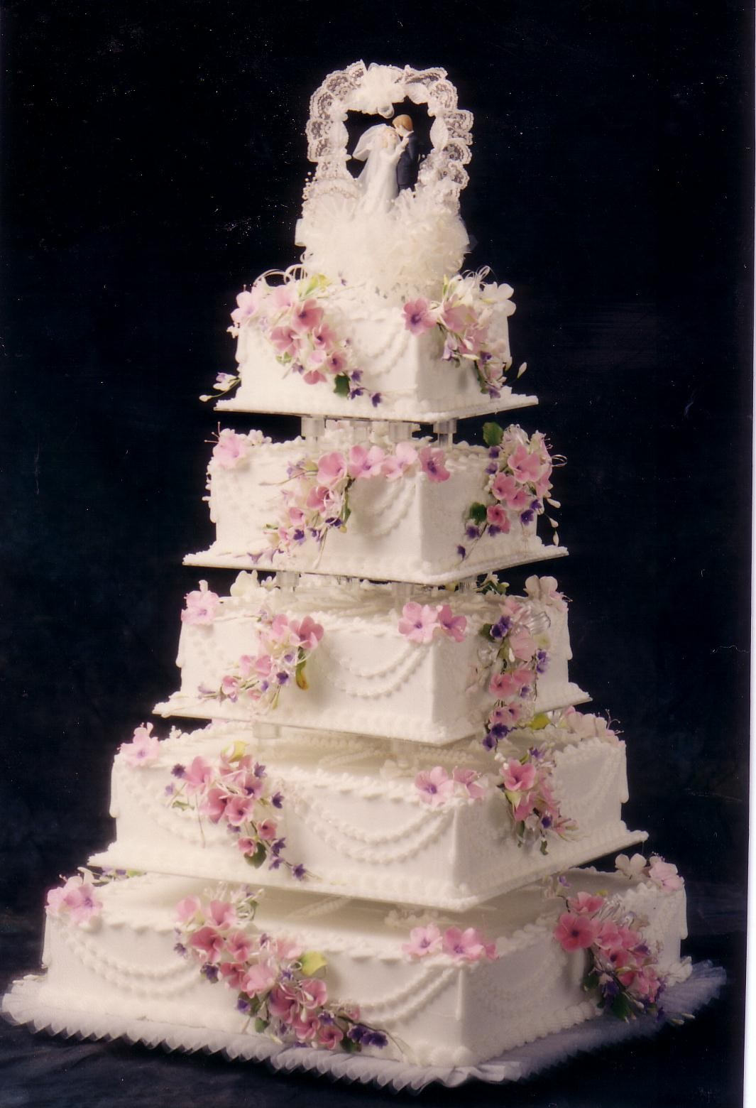 Cake Place 5 Tier White Square Wedding Cake With Pink Flowers
