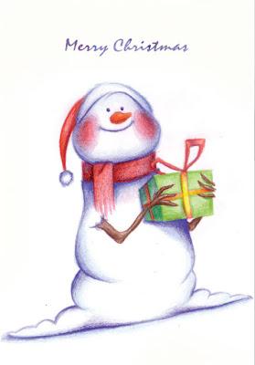 Biglietto di auguri: pupazzo di neve natalizio