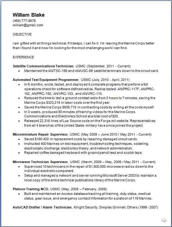 satellite communications technician sample resume format in word free download