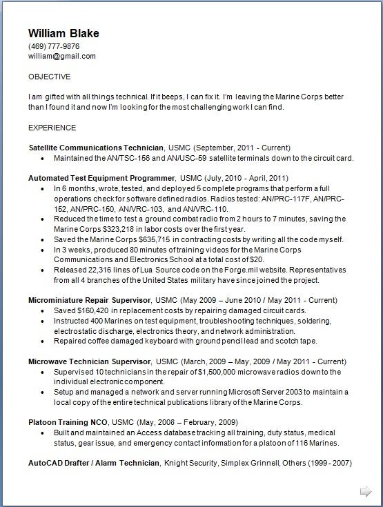 Satellite Communications Technician Sample Resume Format