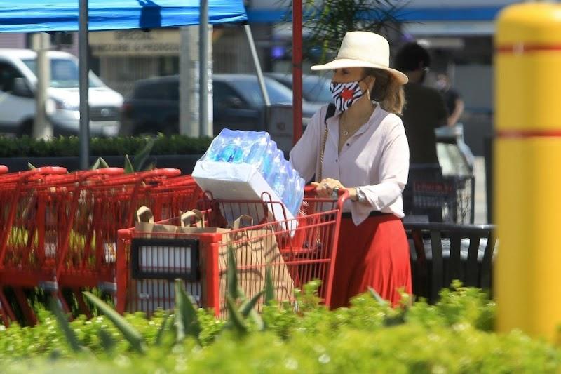 Sasha Alexander Wearing a Mask at Ralphs in West Hollywood 7 May -2020