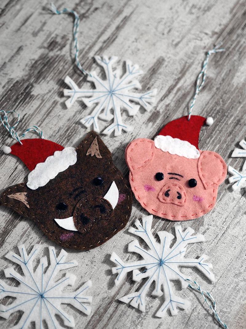 KuneCoco • Weihnachtliche Anhänger aus Filz • Fröhliche Schweinachten