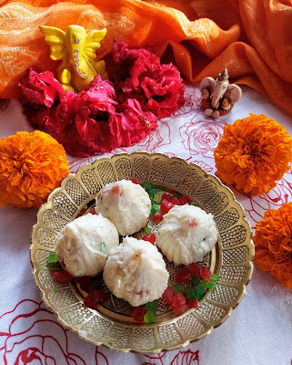 Sugar Free Modaks for Ganesha with Honey and tutti frutti