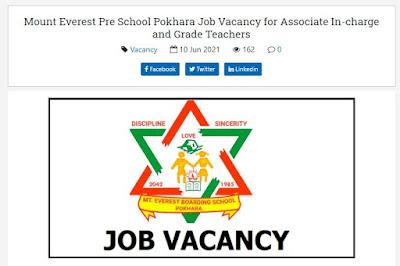 Mount Everest Pre School Pokhara Vacancy Announcement