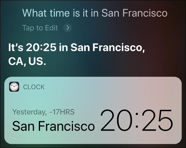تظهر نتائج سيري ما هو الوقت في سان فرانسيسكو.