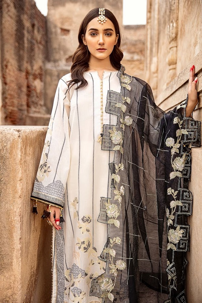 Gul Ahmed Black & White Embroidered Jacquard collection