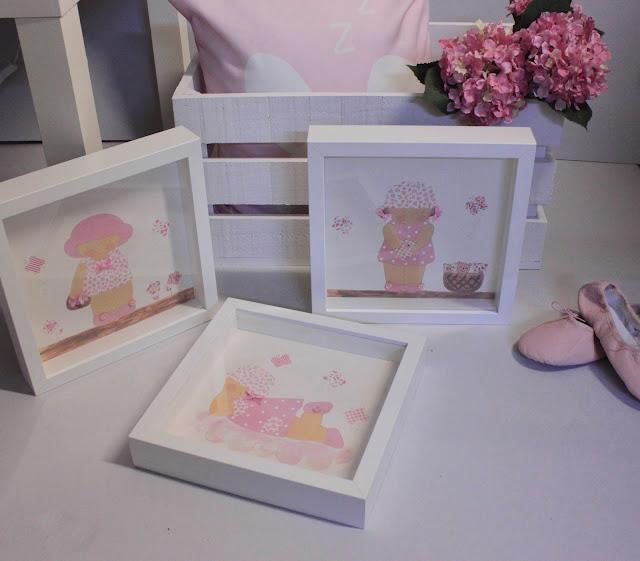 láminas infantiles pintadas a mano, con marco