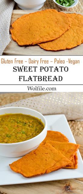 Sweet Potato Flatbread Recipe #Gluten Free #Dairy Free #Paleo #Vegan