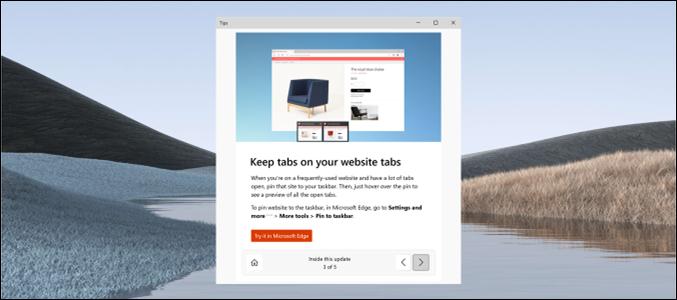 تجربة ما بعد التحديث الجديدة لنظام التشغيل Windows 10 ، بإذن من Microsoft.