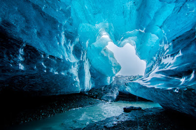 Blue crystal ice cave in Iceland