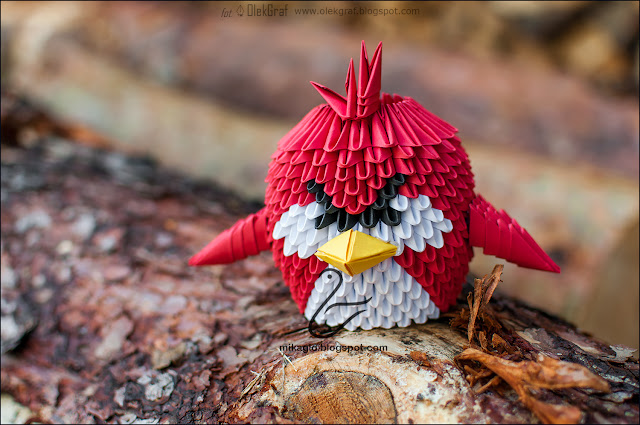 582. Red Angry Birds z origami / 3d origami Red Angry Birds