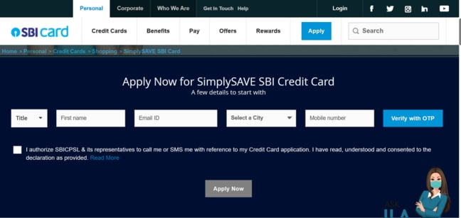 SBI Simply Save Credit Card Online Apply