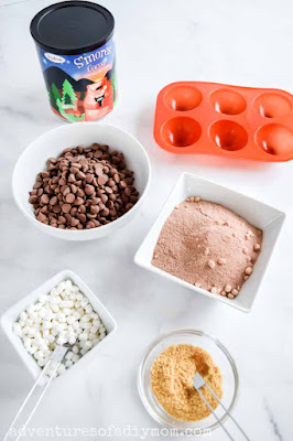 ingredients for smores hot chocolate bombs