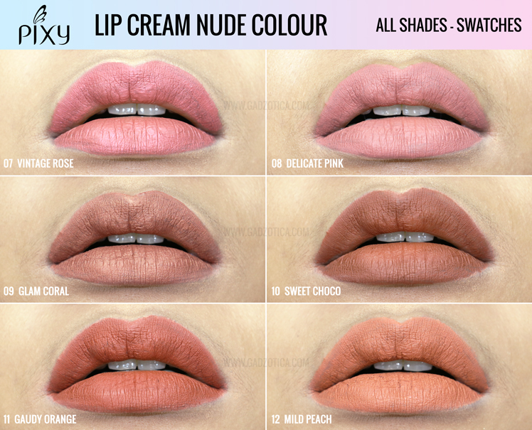 Pixy Lip Cream Nude Colour Swatch Bibir