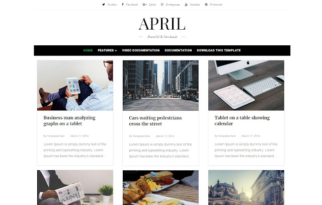 April Responsive Personal Blog Fashions Girly Minimalits Simple Clean Blogger Template Theme