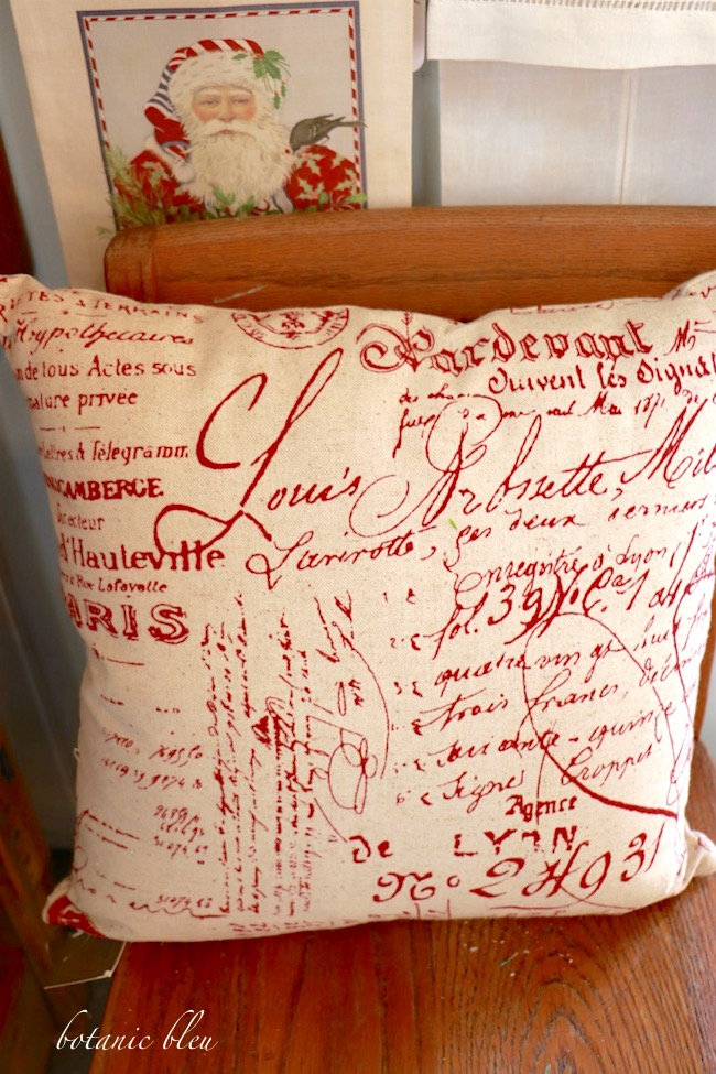 red-french-script-fabric-pillow