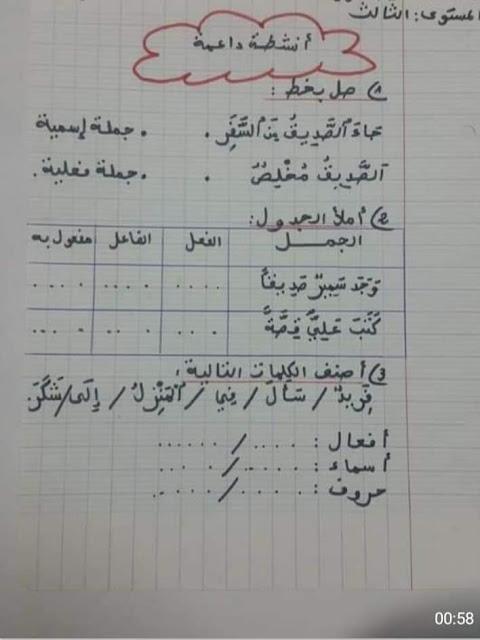 أنشطة داعمة في اللغة العربية المرحلة الثالثة المستوى الثالث نموذج 4