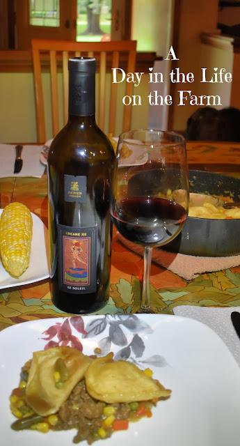 Pierogi Shepherd's Pie and wine