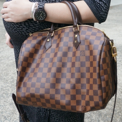 AwayFromTheBlue | AwayFromTheBlue | Printed dress, Louis Vuitton Damier Ebene 30 speedy B JORD Wood watch