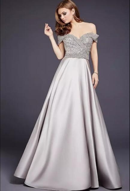 vestido de festa prateado