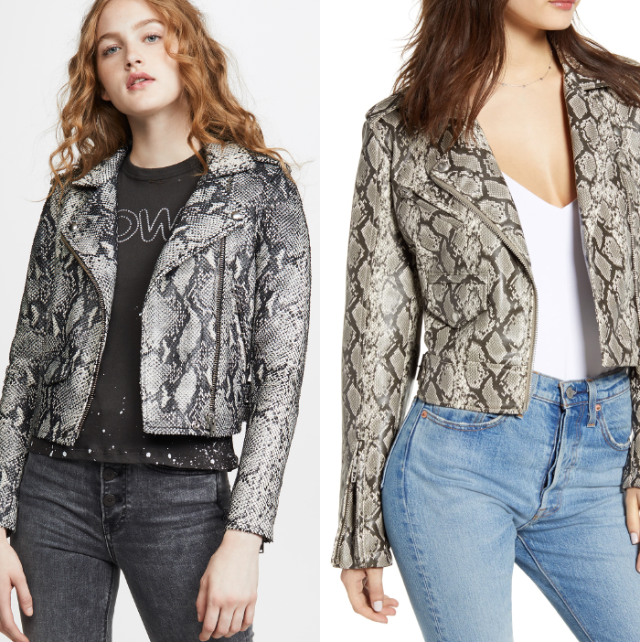 snakeskin moto leather jacket, fall jacket trends 2019